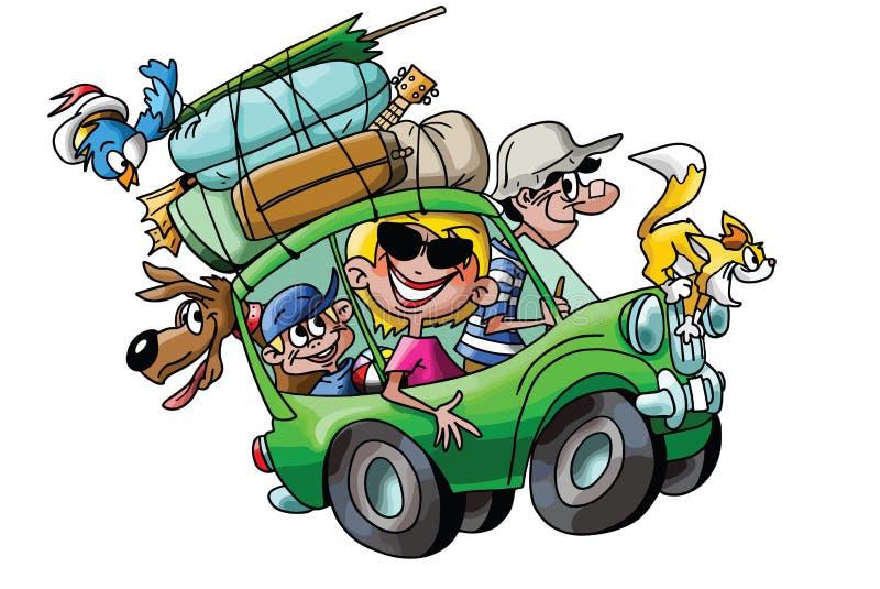 Tecknad filmfamilj som går på semester med deras fullastade vektor för bilar vektor illustrationer