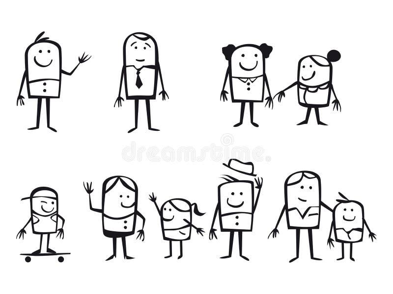 Tecknad filmfamiljer stock illustrationer