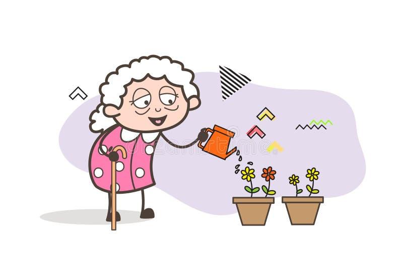 Tecknad filmfarmor som besprutar vatten till blommavektorillustrationen royaltyfri illustrationer