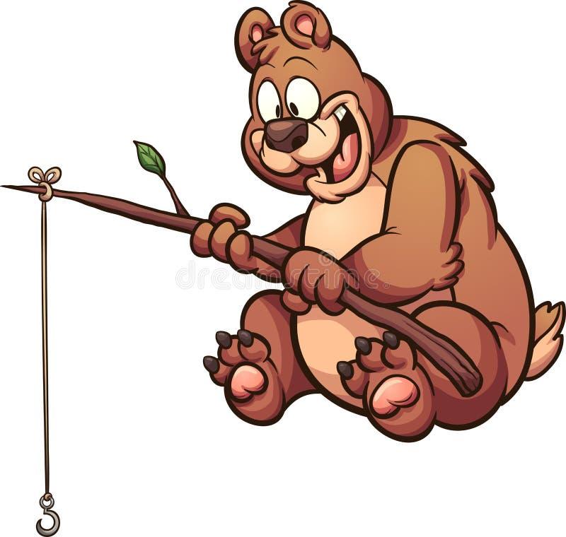 Tecknad filmfiskebjörn stock illustrationer