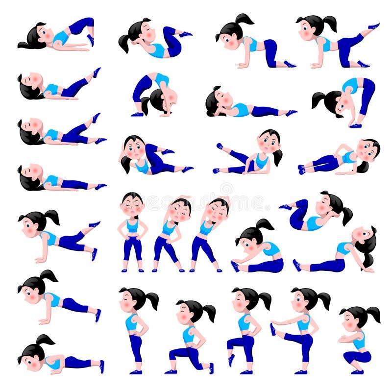 Tecknad filmflicka i blåttdräkten som gör konditionövningar som isoleras på wh stock illustrationer
