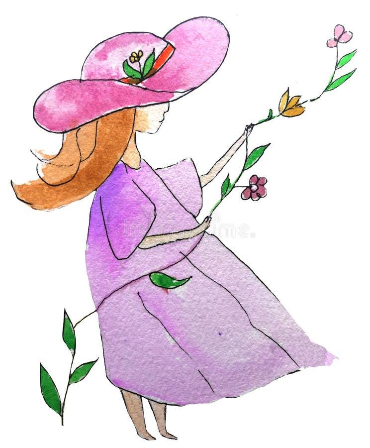 Tecknad filmflicka i en hatt och en klänning i blommor vattenf?rgen skissar illustrationen royaltyfri illustrationer