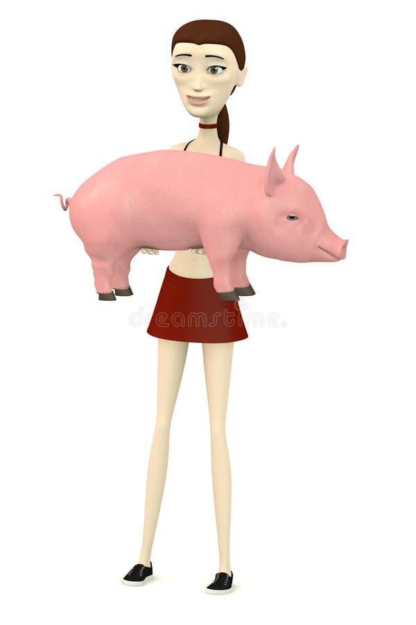 Tecknad filmflicka med det lilla svinet stock illustrationer