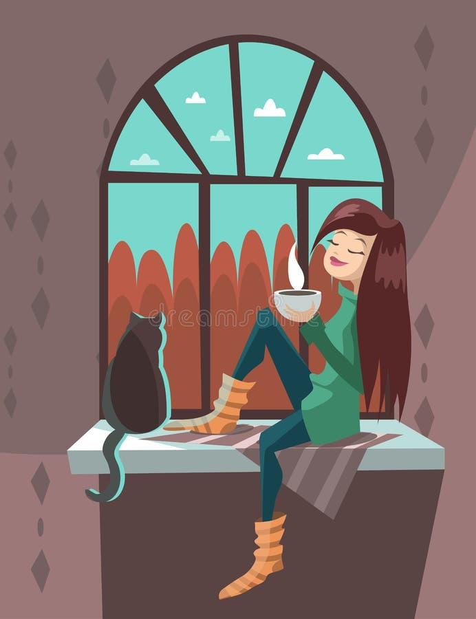 Tecknad filmflicka med ett kattsammanträde på en fönsterbräda royaltyfria bilder