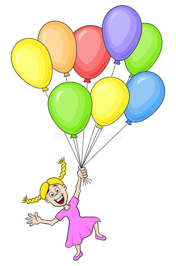 Tecknad filmflicka med många färgrika ballonger vektor illustrationer