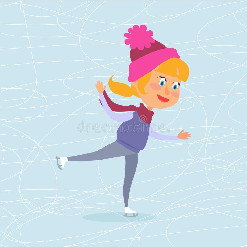 Tecknad filmflicka som åker skridskor på djupfryst yttersida vektor illustrationer
