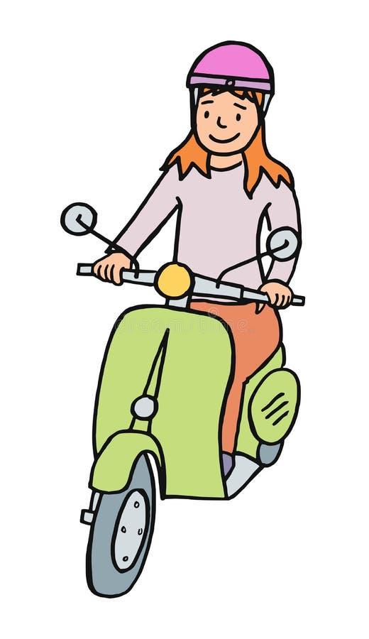 Tecknad filmflicka som kör en sparkcykel stock illustrationer