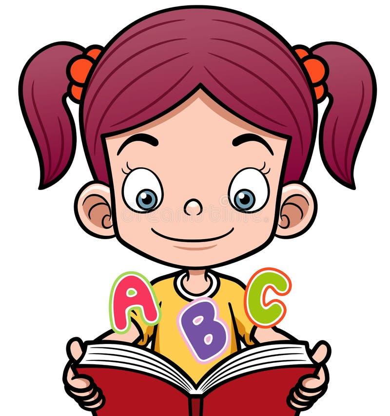 Tecknad filmflicka som läser en bok vektor illustrationer