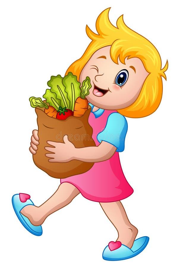 Tecknad filmflicka som rymmer den pappers- påsen av livsmedel med sunda grönsaker royaltyfri illustrationer