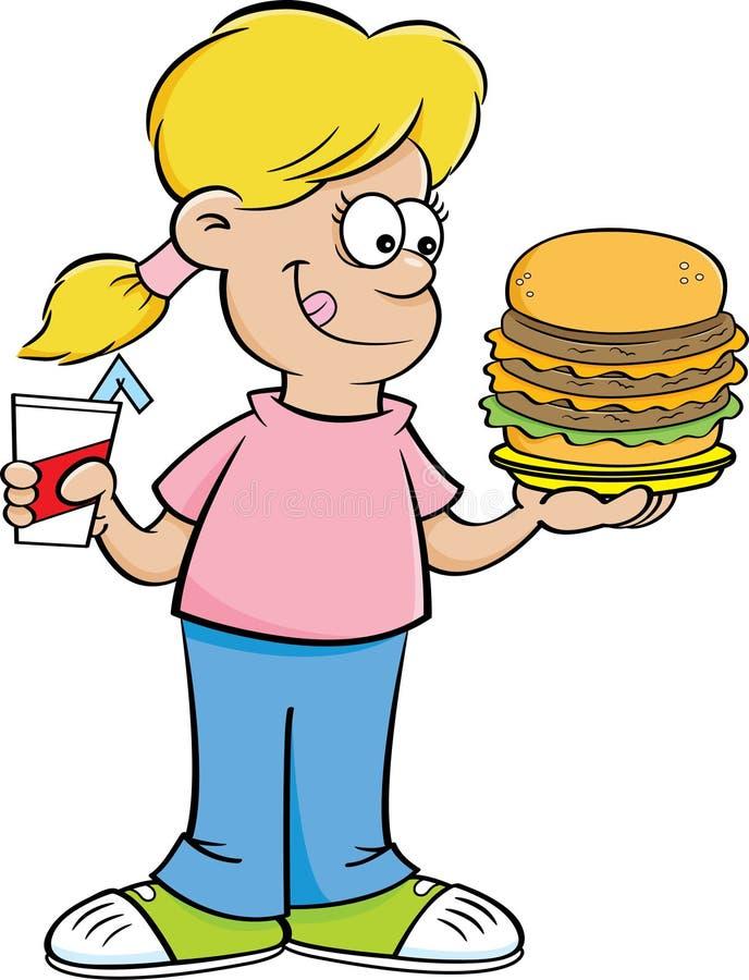 Tecknad filmflicka som rymmer en stor hamburgare och en drink royaltyfri illustrationer