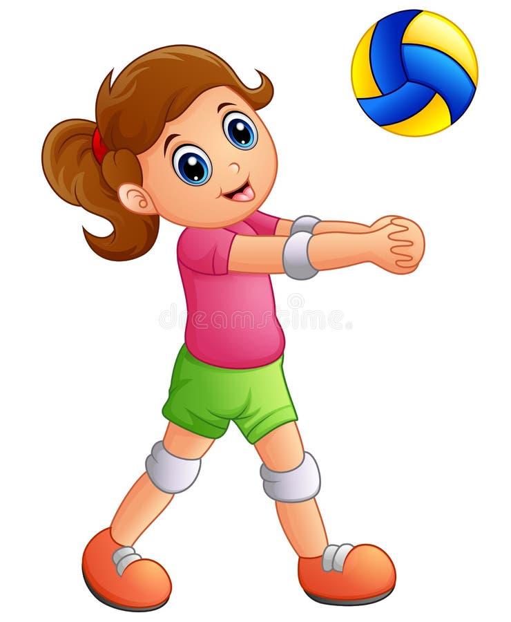 Tecknad filmflicka som spelar volleyboll på en vit bakgrund vektor illustrationer