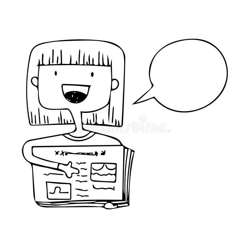 Tecknad filmflickahåll arbetssedel- och anförandebubblaklottret i den svarta linjen vektor stock illustrationer
