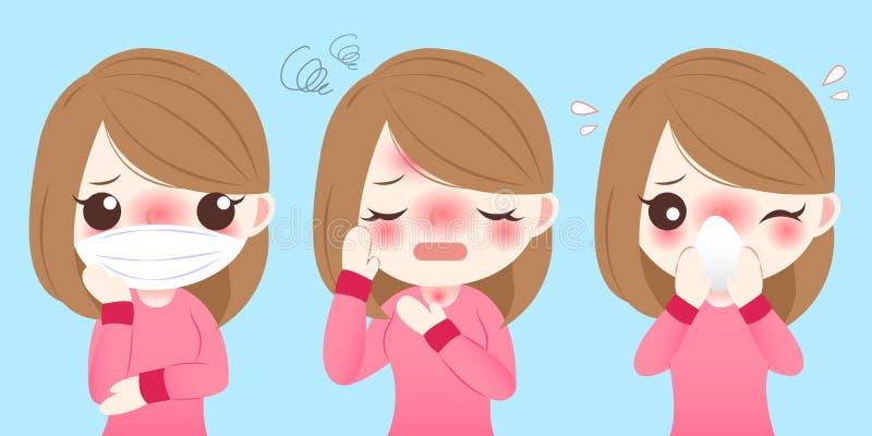 Tecknad filmflickan får förkylning vektor illustrationer