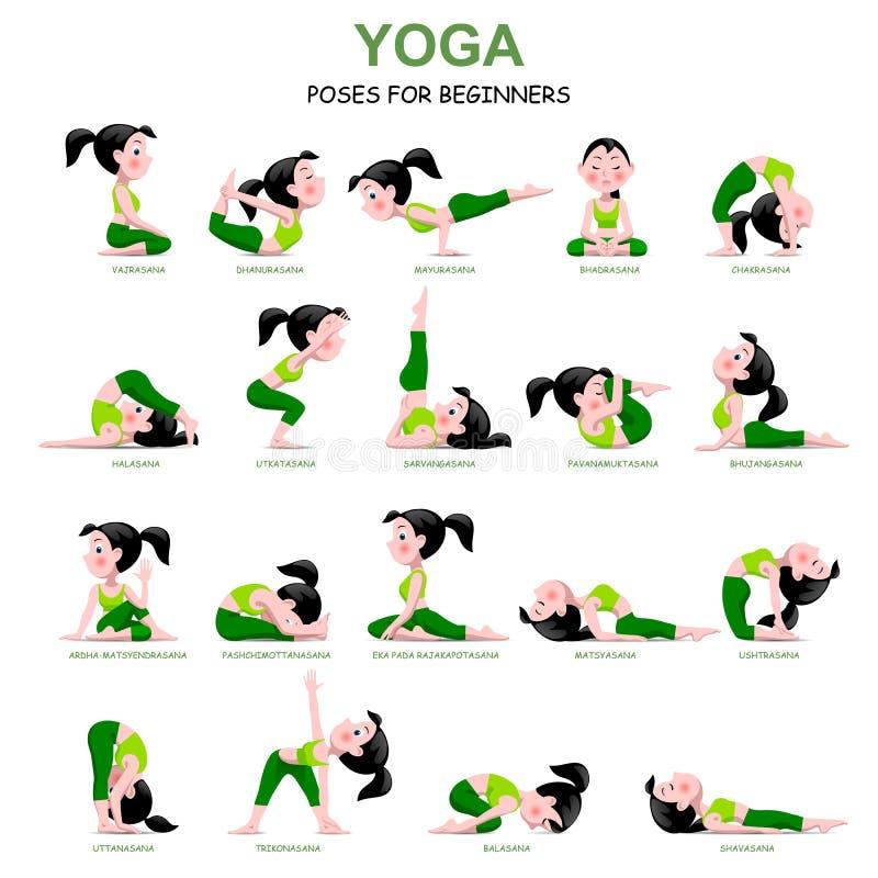 Tecknad filmflickan i yoga poserar med titlar för nybörjare som isoleras på royaltyfri illustrationer