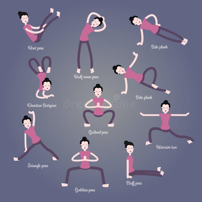 Tecknad filmflickan i yoga poserar med titlar för nybörjare som isoleras på grå bakgrund Asanas Infographic beståndsdelar och royaltyfri illustrationer