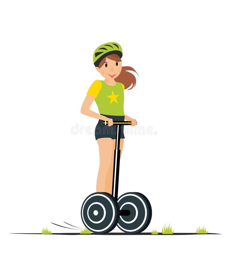 Tecknad filmflickaridning på den elektriska sparkcykeln också vektor för coreldrawillustration royaltyfri illustrationer