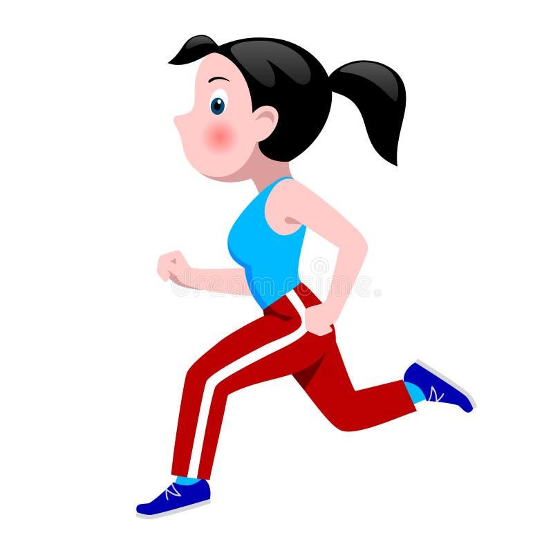 Tecknad filmflickaspring i sportkläder royaltyfri illustrationer