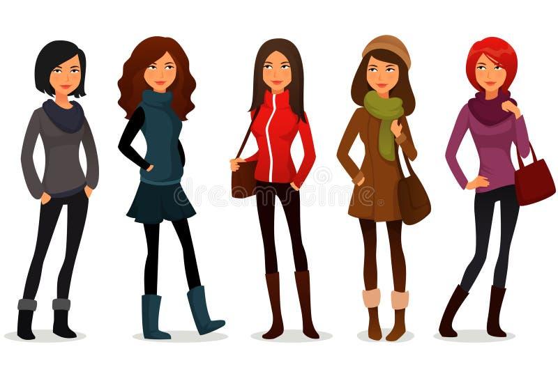 Tecknad filmflickor i färgrik höstkläder stock illustrationer