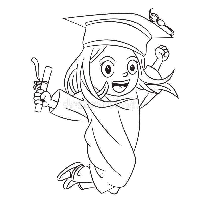 Tecknad filmflickor som lyckligt hoppar i avläggande av examenceremonin vektor illustrationer