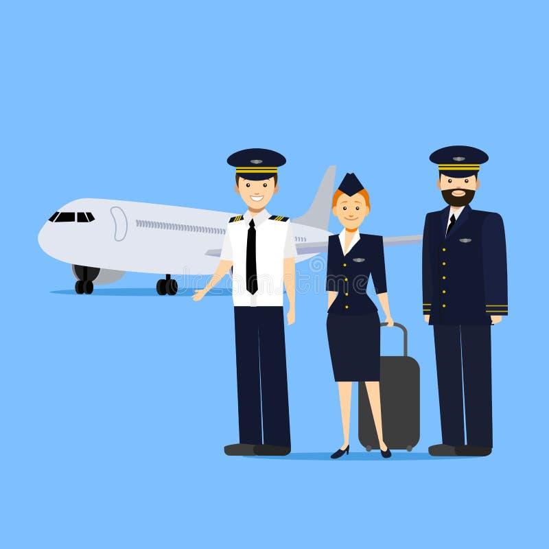Tecknad filmflygbesättningsmän vektor royaltyfri illustrationer