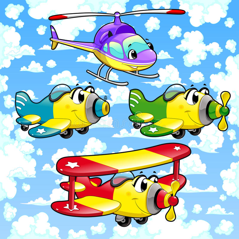 Tecknad filmflygplan och helikopter i himlen. stock illustrationer