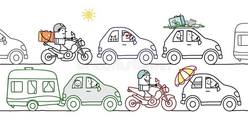 Tecknad filmfolk i en sommartrafikstockning vektor illustrationer