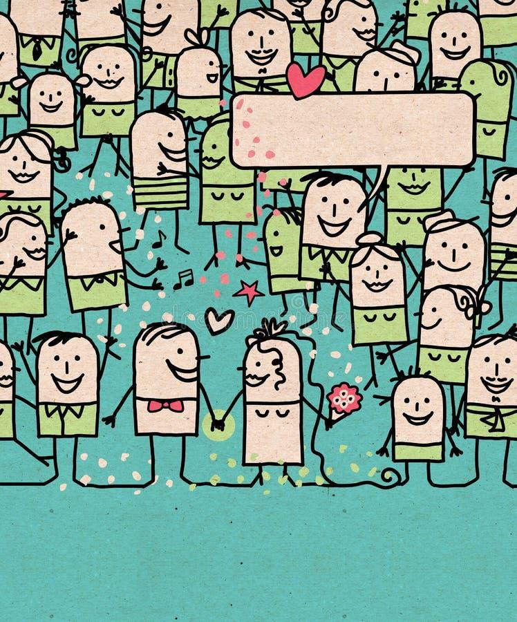Tecknad filmfolket tränger ihop och den lyckliga gifta sig dagen vektor illustrationer