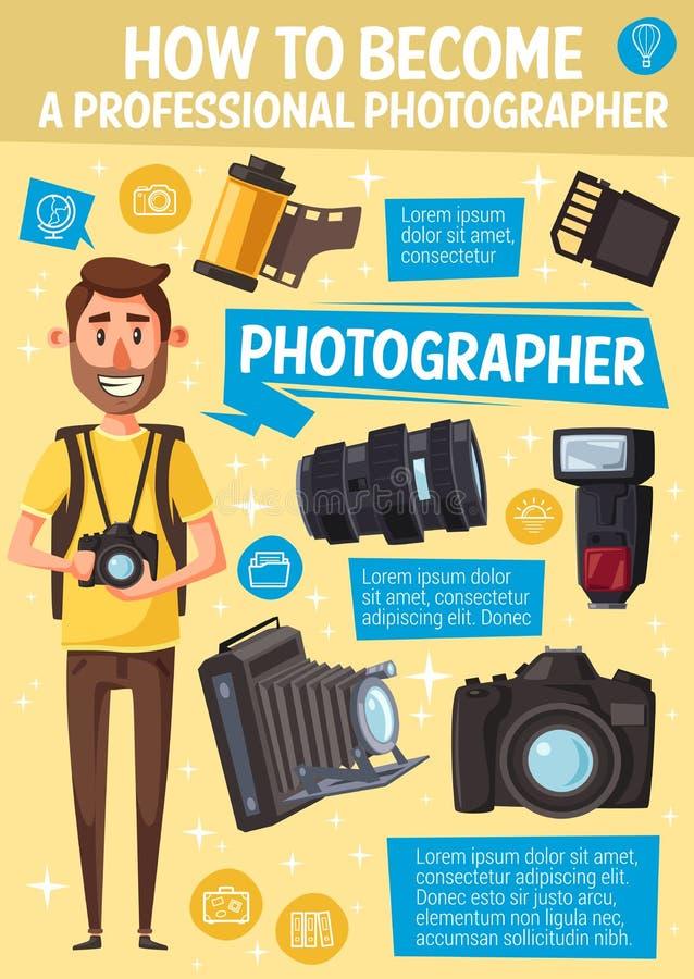 Tecknad filmfotograf, kamera och utrustning stock illustrationer