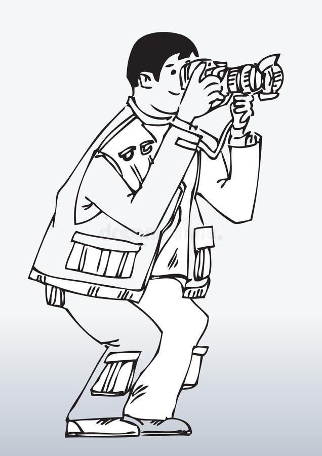 Tecknad filmfotografWorking royaltyfri illustrationer