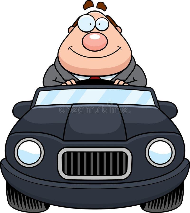 Tecknad filmframstickande Driving Happy stock illustrationer