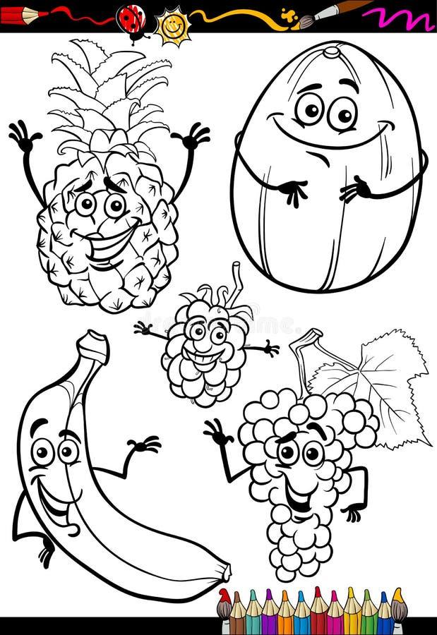 Tecknad filmfruktuppsättning för färgläggningbok stock illustrationer