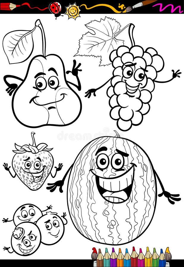 Tecknad filmfruktuppsättning för färgläggningbok vektor illustrationer