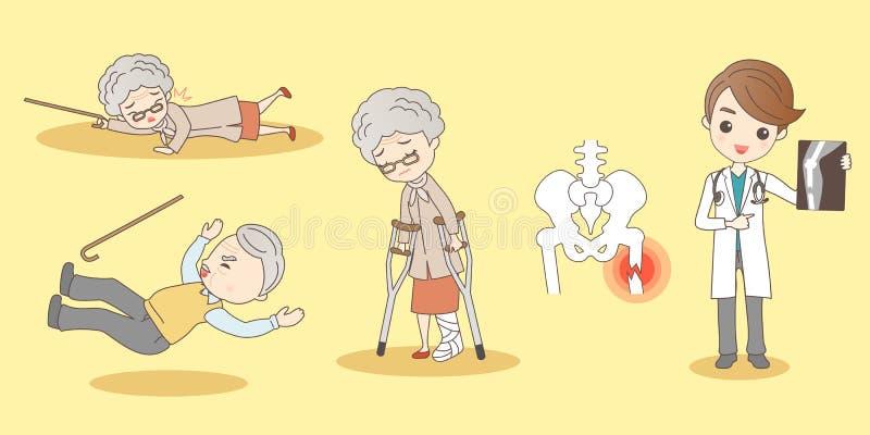 Tecknad filmgamla människor fotbrott royaltyfri illustrationer