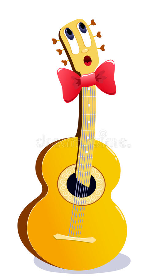 tecknad filmgitarr stock illustrationer