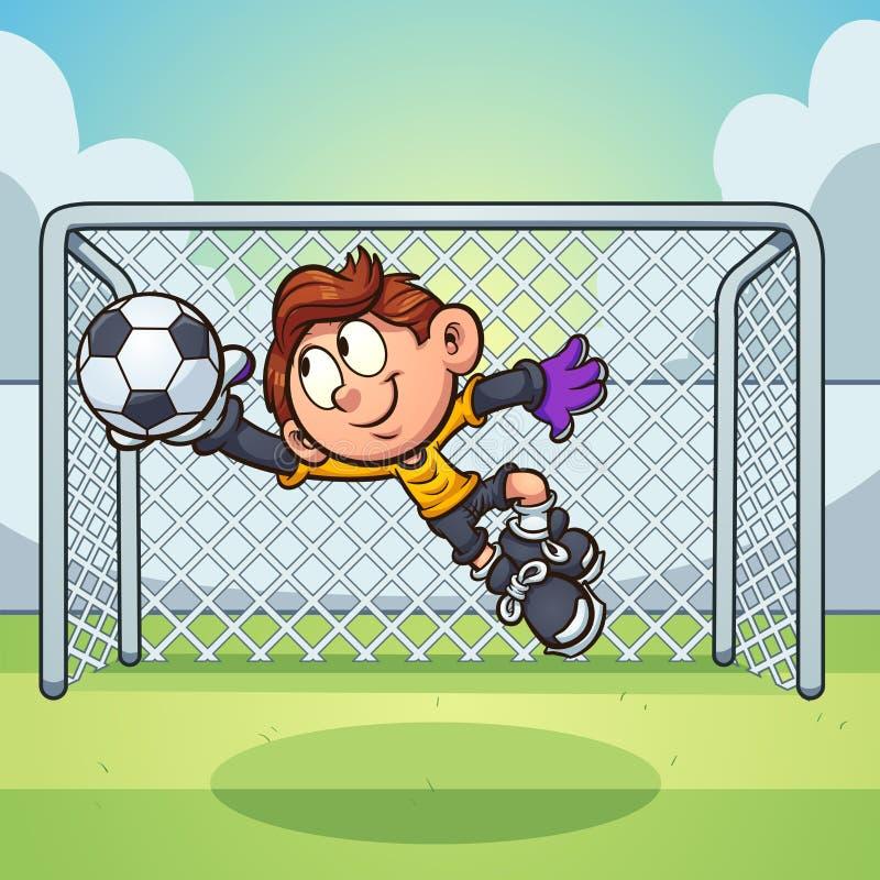 Tecknad filmgoaliepojke som fångar en fotbollboll stock illustrationer