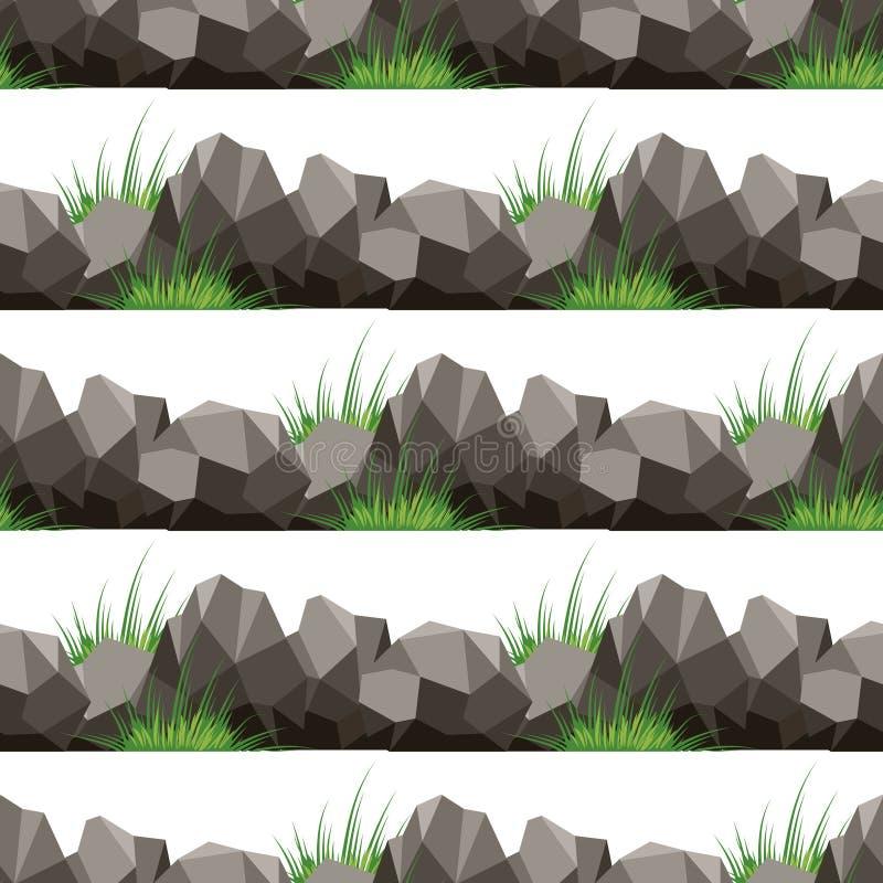 Tecknad filmgräs och sömlös modell för stenar stock illustrationer