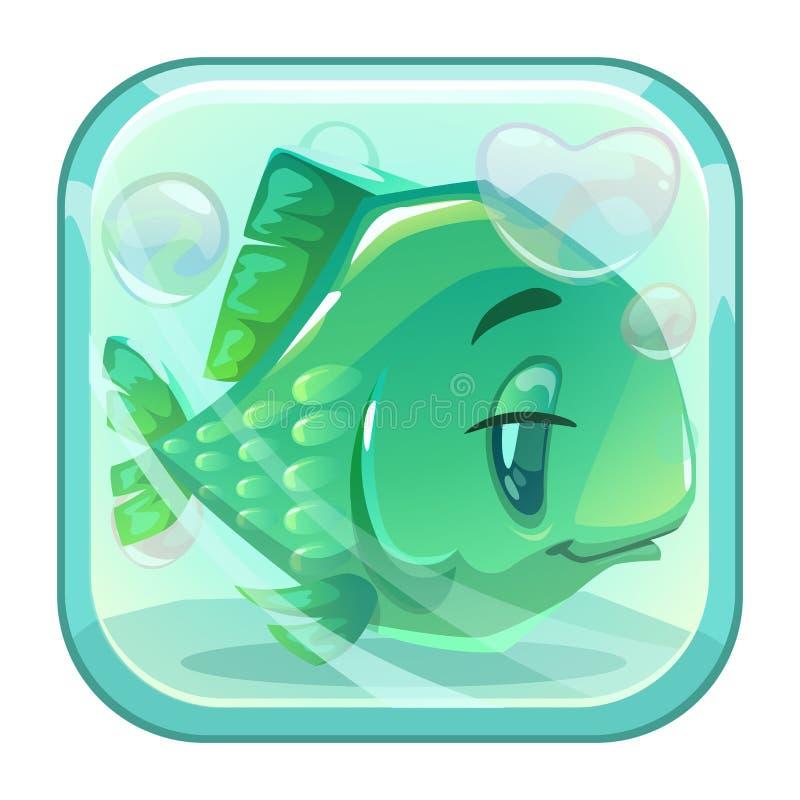 Tecknad filmgräsplanfisk bak exponeringsglaset royaltyfri illustrationer
