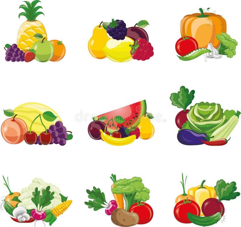 Tecknad filmgrönsak- och fruktsymboler stock illustrationer