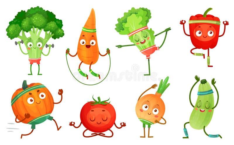 Tecknad filmgrönsakkondition Grönsakteckengenomkörare, sund yogaövningsmat och sportgrönsakvektor stock illustrationer