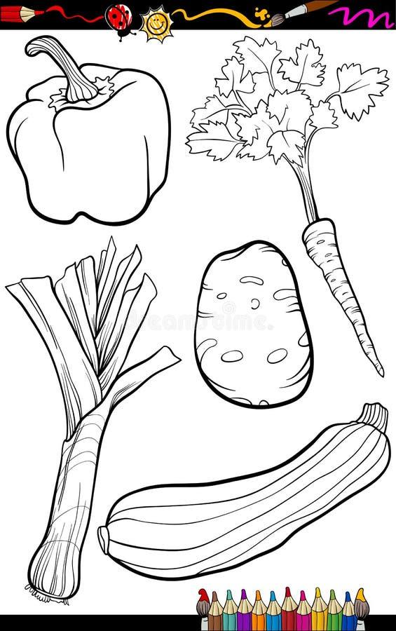 Tecknad filmgrönsakuppsättning för färgläggningbok royaltyfri illustrationer