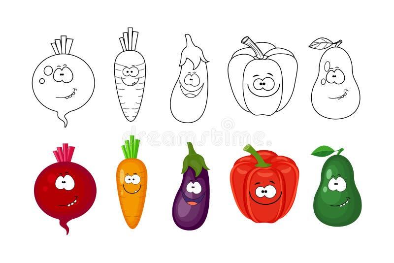 Tecknad filmgrönsakuppsättning Sidor för färgläggningbok för ungar Rödbeta, vektor illustrationer
