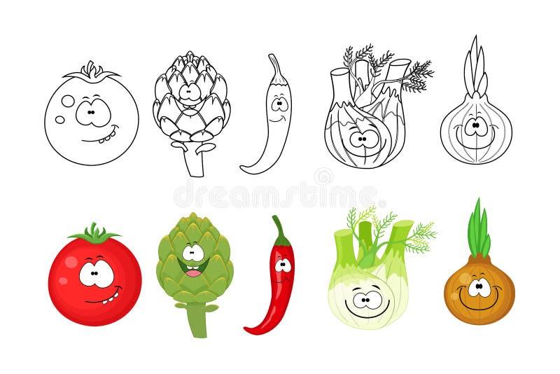 Tecknad filmgrönsakuppsättning Sidor för färgläggningbok för ungar Tomat a royaltyfri illustrationer