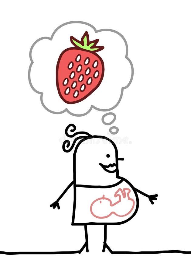 Tecknad filmgravid kvinna som tänker om jordgubben stock illustrationer