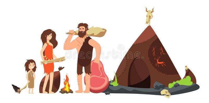 Tecknad filmgrottmänniskafamilj Förhistoriska neanderthaljägare och ungar Forntida homo sapiens vektorillustration vektor illustrationer