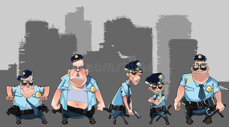 Tecknad filmgrupp av olika män i polislikformig med vapen vektor illustrationer