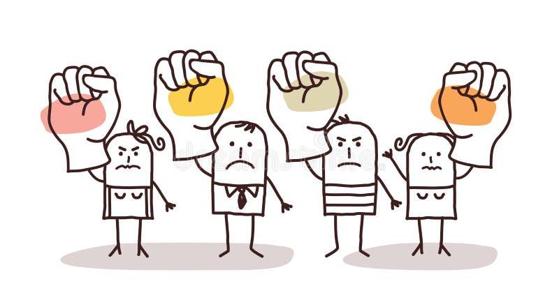 Tecknad filmgrupp människor som säger INTE med lyftta nävar vektor illustrationer