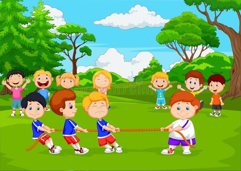 Tecknad filmgruppen av barn som spelar dragkampen i, parkerar royaltyfri illustrationer