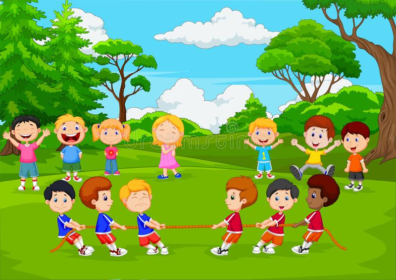 Tecknad filmgruppen av barn som spelar dragkampen i, parkerar stock illustrationer
