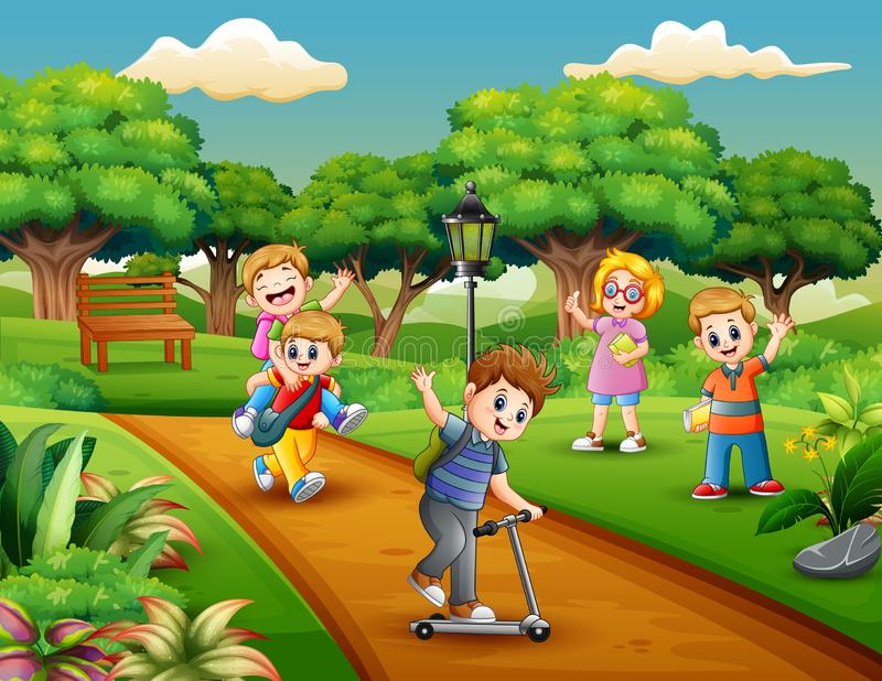 Tecknad filmgruppen av barn som spelar i, parkerar royaltyfri illustrationer