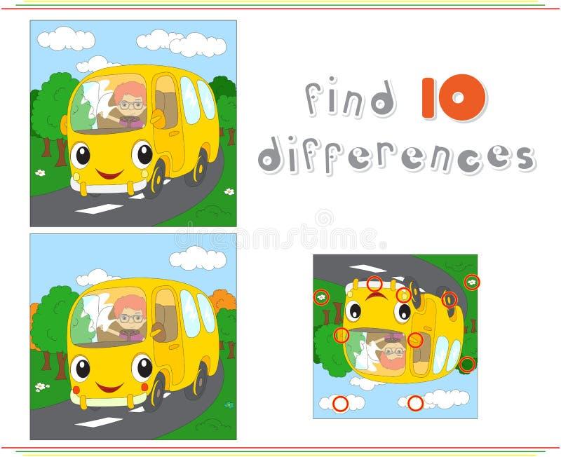 Tecknad filmgulingbuss Bildande lek för ungar: fynd tio differen royaltyfri illustrationer